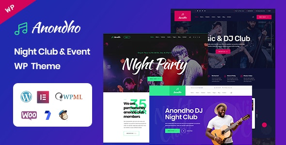 Download Anondho v1.0 - Night Club & Event WordPress Theme
