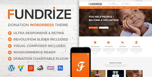 Download Fundrize v1.9 - Responsive Donation & Charity Theme