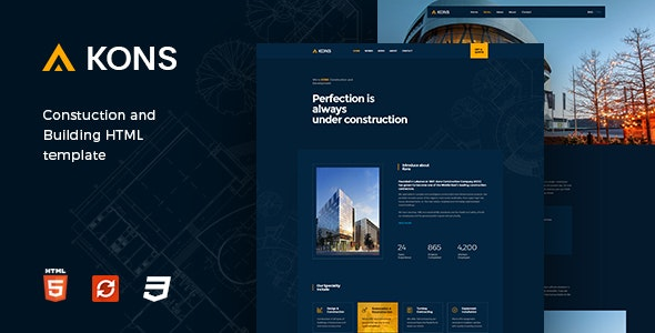 Download Kons v1.0.7 - Construction and Building Template
