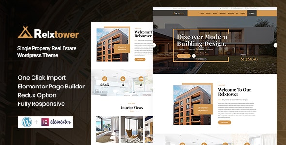 Download Relxtower v1.0 - Single Property WordPress Theme