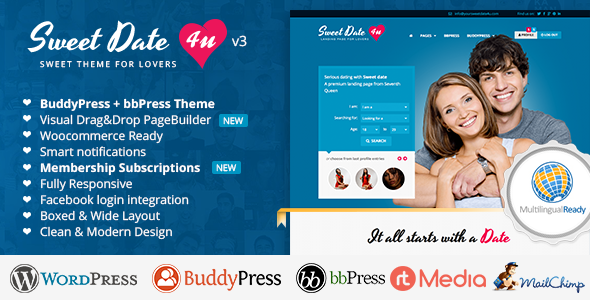 Download Sweet Date v3.4.10 - More than a WordPress Dating Theme