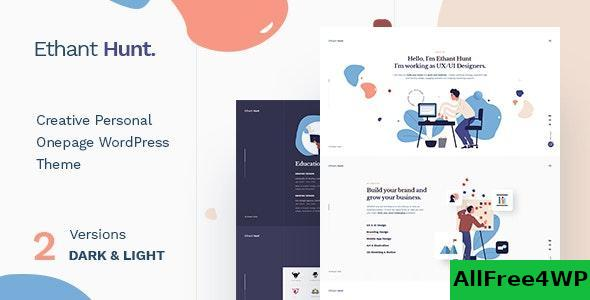 Download Ethant Hunt v1.0.1 - Personal Onepage WordPress Theme