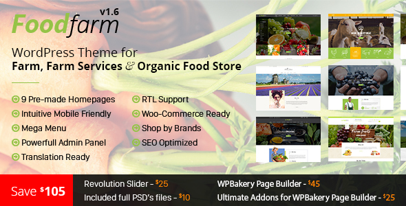 Download FoodFarm v1.8.4 - WordPress Theme for Farm