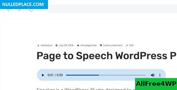 Speaker v2.1.2 - Page to Speech Plugin for WordPress