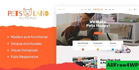 Pets Land v1.2.1 – Domestic Animals Shop & Veterinary WordPress Theme