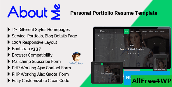 AboutMe v2.2 – Personal Portfolio Resume Template