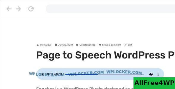 Speaker v3.0.5 - Page to Speech Plugin for WordPress