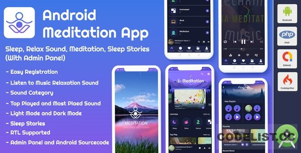 Android App Meditation & Relaxation Music with Admin Panel v1.0