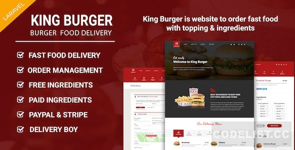 King Burger v1.3 – Restaurant Food Ordering website with Ingredients In Laravel