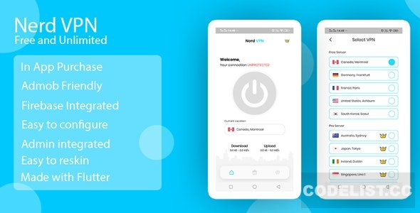 Nerd VPN v1.0 – Flutter VPN Android Full Application with IAP, Integrated with Backend and Admin Panel