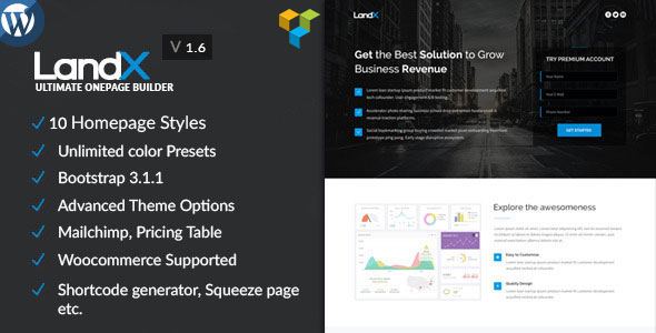 Nulled LandX v1.8.3 – Multipurpose WordPress Landing Page NULLED