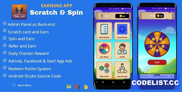 Scratch & Spin to Win Android App with Earning System (Admob, Facebook, Start App Ads) v4.0